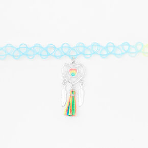 Pastel Rainbow Dreamcatcher Tattoo Choker Necklace,
