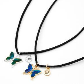Colliers à pendentif d'humeur papillon Best Friends - Lot de 2,