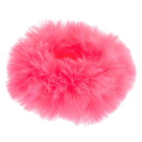 Medium Faux Fur Hair Scrunchie - Neon Pink,