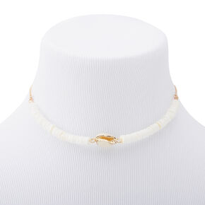 Gold Puka & Cowrie Shell Beaded Choker Necklace - White,