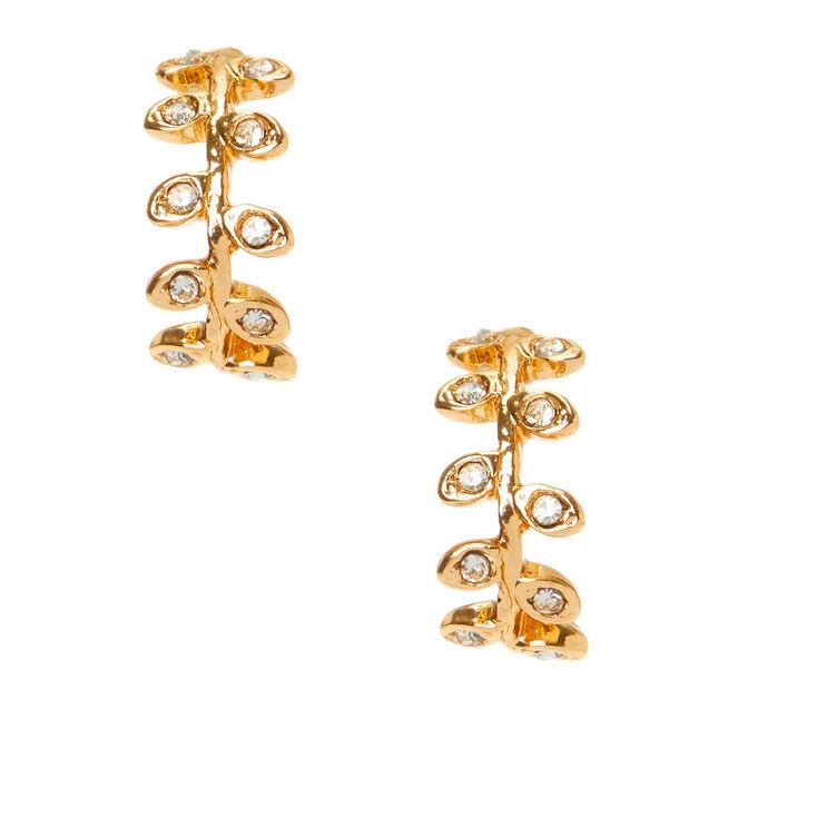 Gold 10MM Vine Half Hoop Earrings,