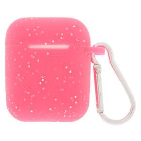Étui pour écouteurs en silicone rose fluo - Compatible avec les Airpods de Apple,