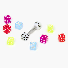Neon Dice Interchangeable Tongue Rings - 9 Pack,