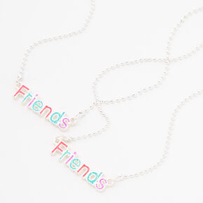 Friends Pastel Glitter Silver Pendant Necklaces - 2 Pack,