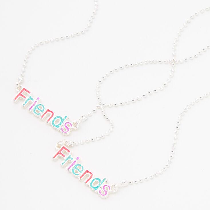 Friends Pastel Glitter Silver Pendant Necklaces - 2 Pack,