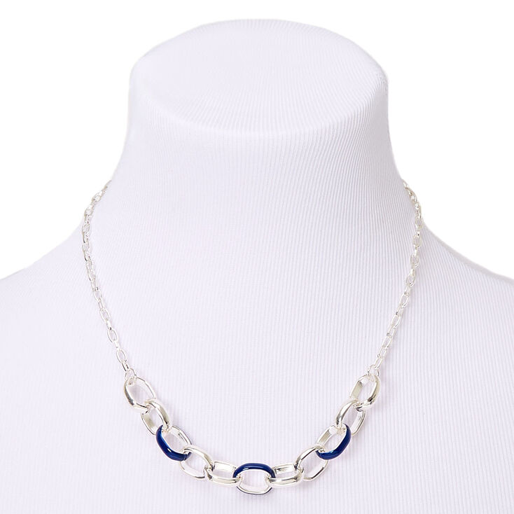 Silver Enamel Chain Link Statement Necklace - Navy,
