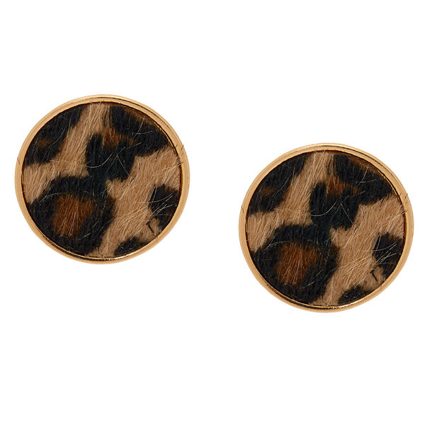 Claire's - leopard round stud earrings - 1