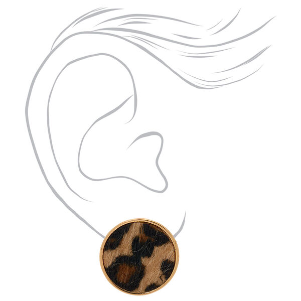 Claire's - leopard round stud earrings - 2