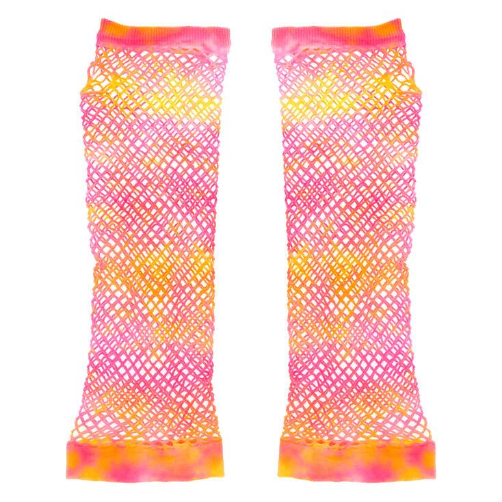 Tie Dye Fishnet Arm Warmers - Pink,