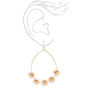 "Gold 3"" Teardrop Daisy Drop Earrings,"