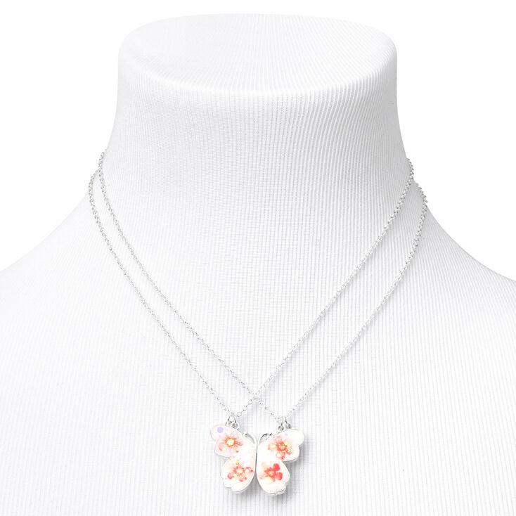 Best Friends Pressed Flower Split Butterfly Necklaces - 2 Pack,
