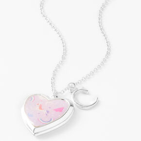 Claire's Club Glitter Unicorn Initial Locket Necklace - Pink, C,