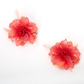 Lily Flower Hair Clips - Red Orange, 2 Pack,