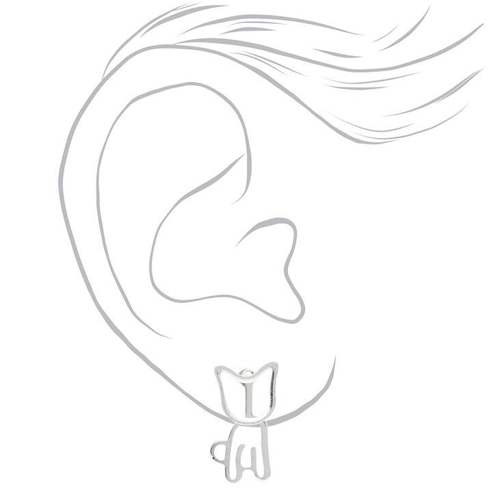 Silver Cat Ear Jacket Earrings,