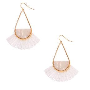 """Gold 2.5"""" Tassel Drop Earrings - White,"""