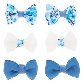 3c62d2b115f9 Claire's Club Bow Hair Clips - Blue, 6 Pack