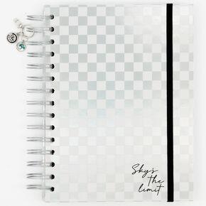 Sky Brown™ Checkered Notebook - Silver,