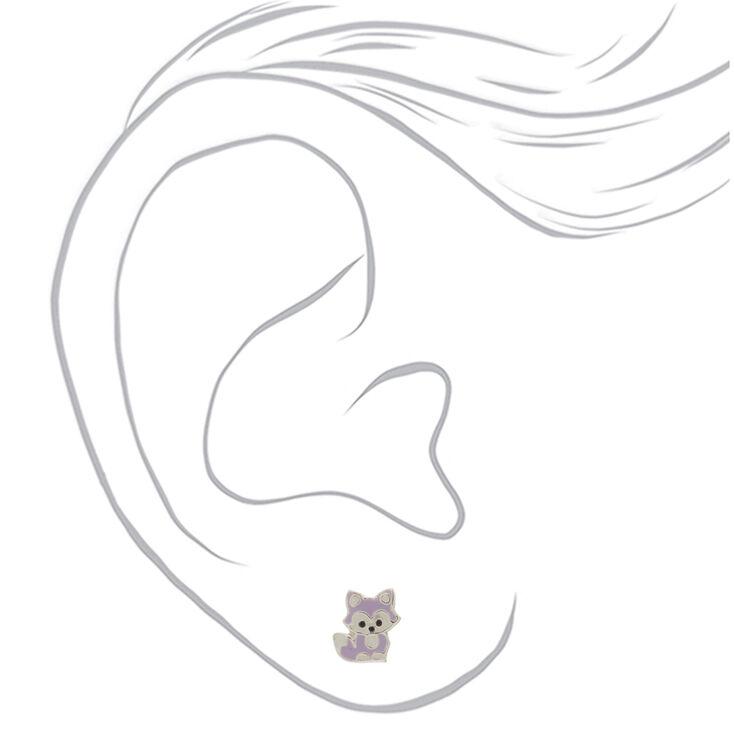 Sterling Silver Fox Stud Earrings - Lavender,