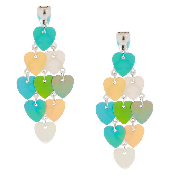 """Claire's - 2"""" holographic heart chandelier clip on drop earrings - 1"""