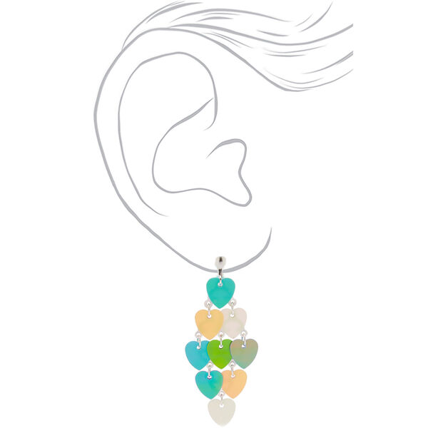 """Claire's - 2"""" holographic heart chandelier clip on drop earrings - 2"""