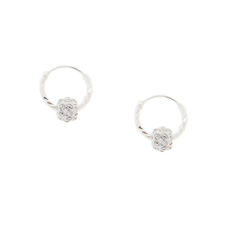 Sterling Silver 10MM Fireball Hoop Earrings,