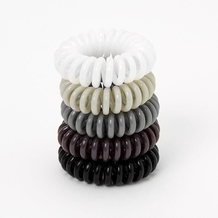 Black, Gray, & White Spiral Hair Bobbles - 5 Pack,