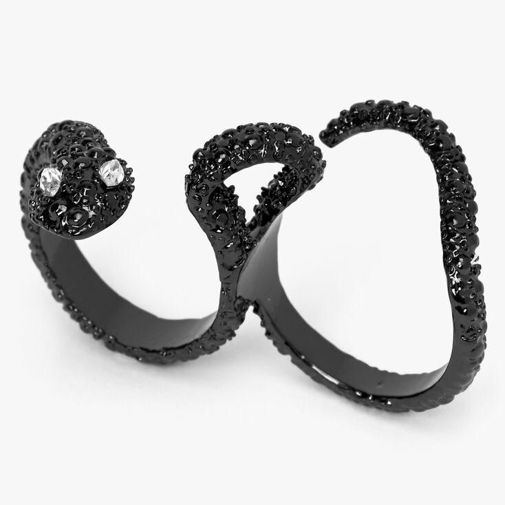 Hematite Snake Two Finger Ring,