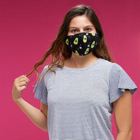 Masque en coton noir imprimé avocat - Adulte,