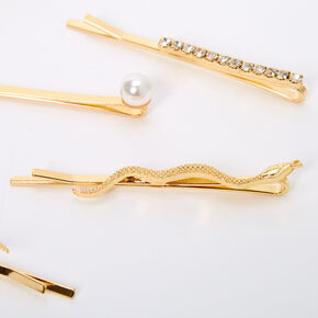 Gold Snake Rhinestone Pearl Hair Pins - 6 Pack,