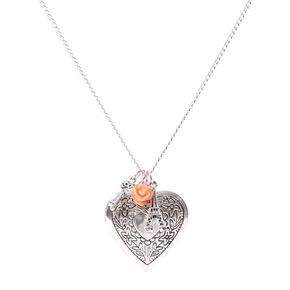 Silver Heart Locket and Charms Pendant Necklace,