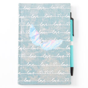 Love Script Angel Wing Denim Journal,