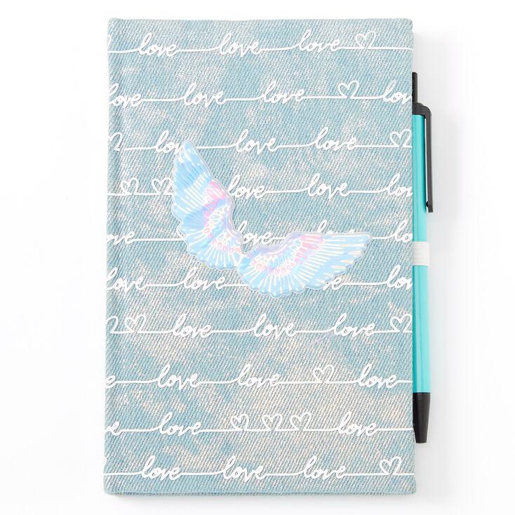Love Script Angel Wing Denim Journal,