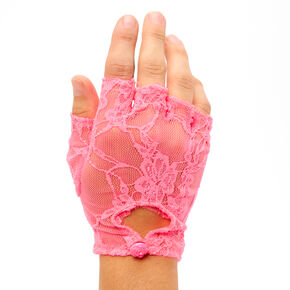 Fingerless Lace Gloves - Pink,