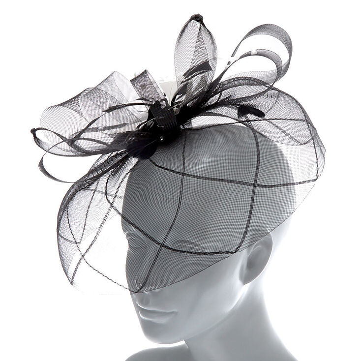 Feather & Lace Hair Fascinator - Black,