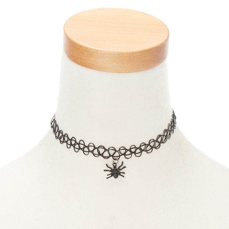Spider Tattoo Choker Necklace - Black,