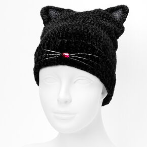 Cat Chenille Beanie - Black,