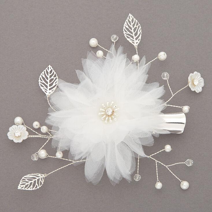Claire's Barrette à cheveux florale en tulle blanc