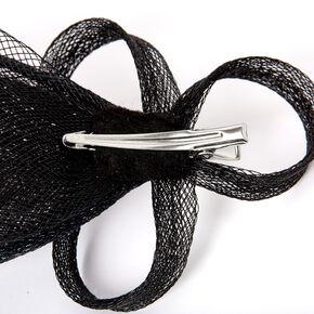 Embellished Teardrop Fascinator Hair Clip - Black,