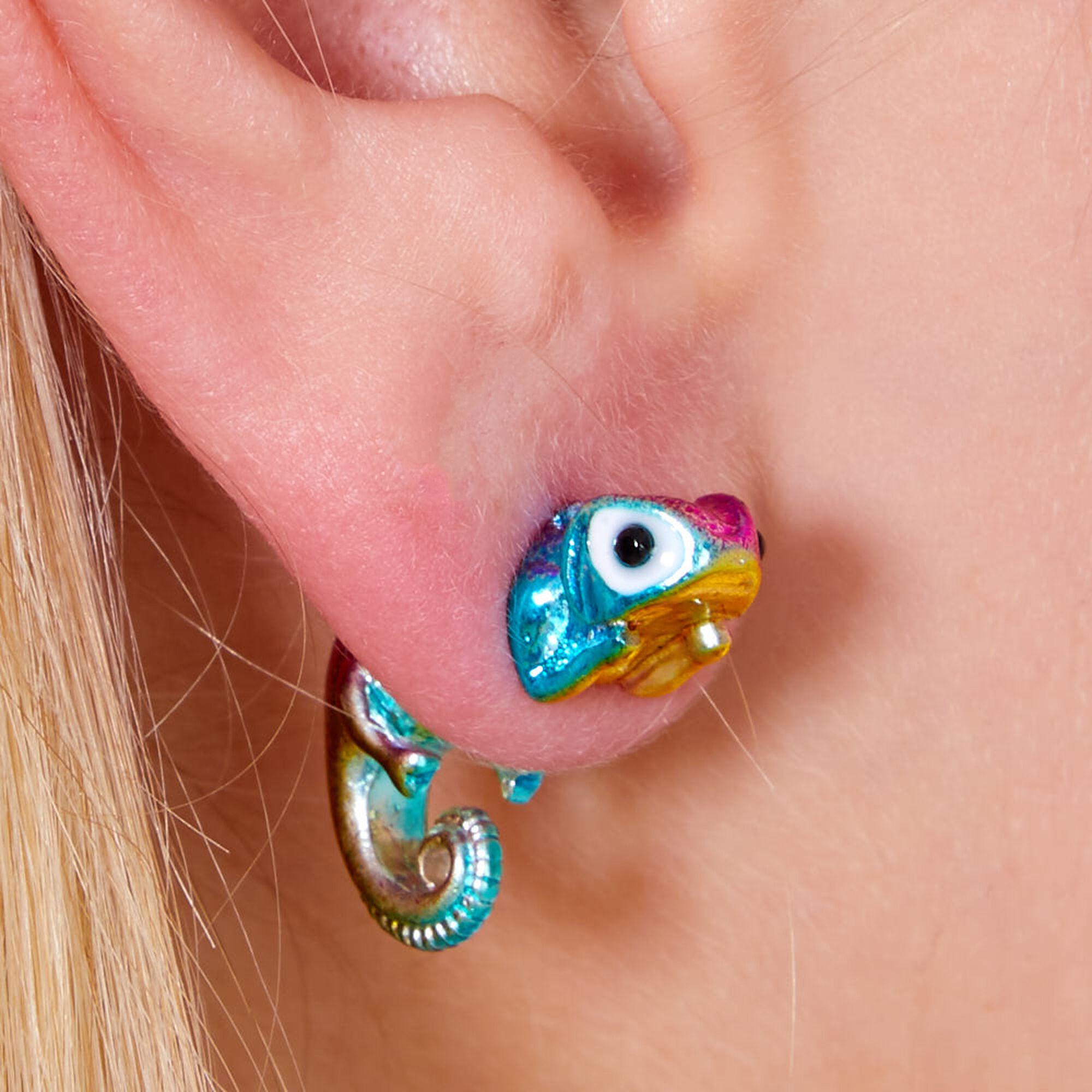 Rainbow Metallic Chameleon Front Back Earrings