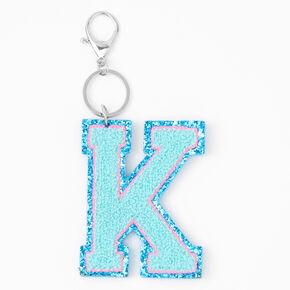 Blue Varsity Initial Keyring - K,