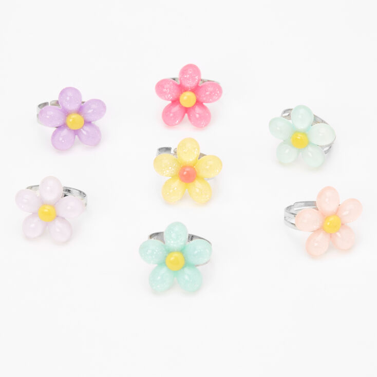 Claire's Club Pastel Flower Rings - 7 Pack,