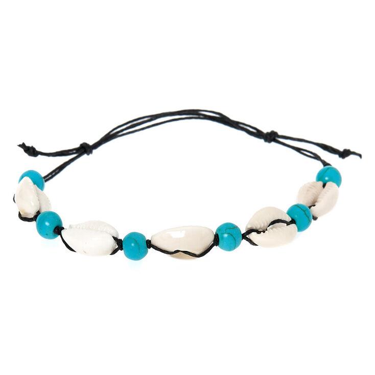 Bracelet réglable avec perles d'imitation turquoise et coquillages puka,