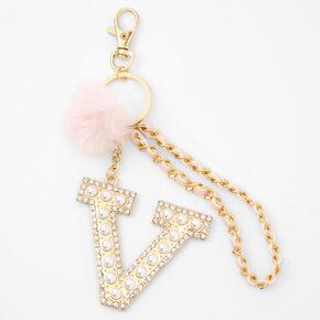 Gold Bling Initial Pom Pom Keyring - Pink, V,