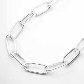 Silver Paperclip Link Chain Necklace,