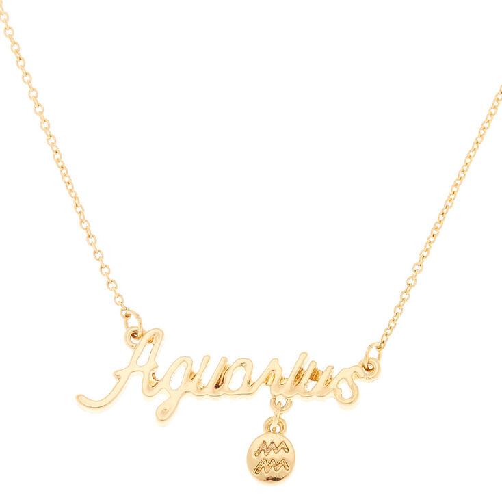Collier à pendentif zodiaque doré Verseau,