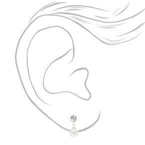 Sterling Silver 5MM Pearl Drop Stud Earrings,