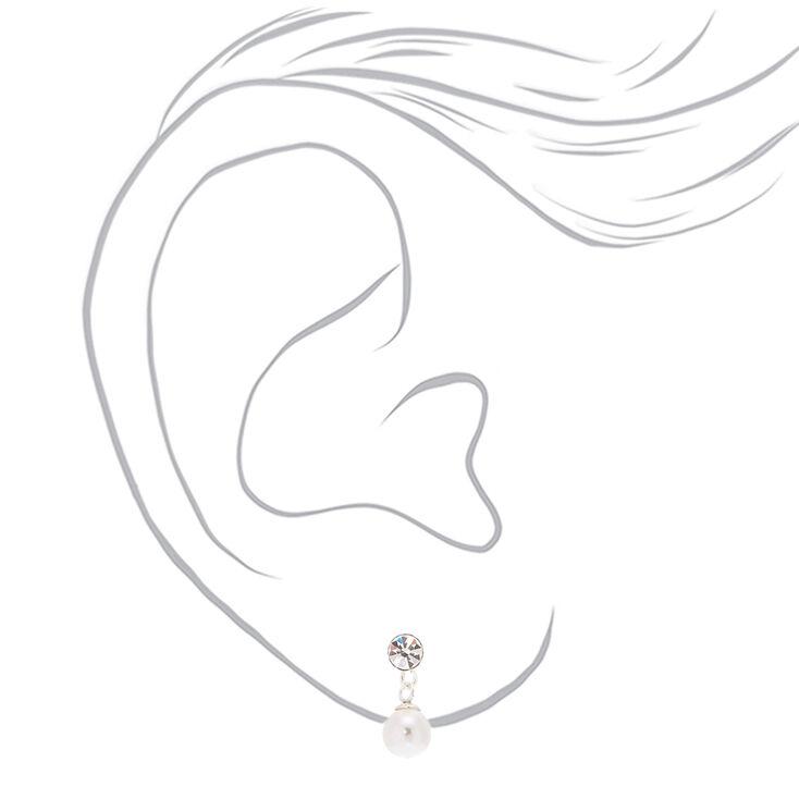 Sterling Silver 5MM Pearl Drop Stud Earrings,