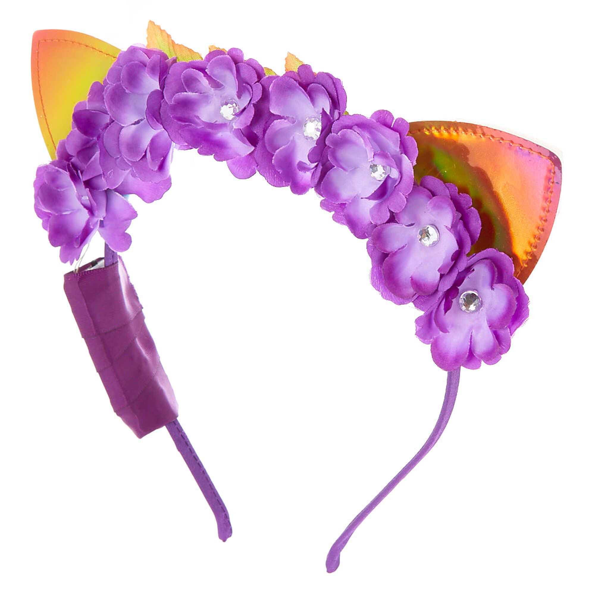 Light Up Anodized Cat Ears Flower Crown Headband Purple Claires Us