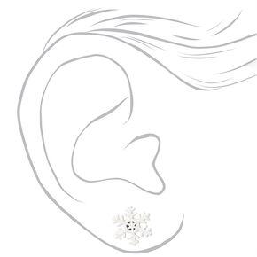 Silver Snowflake Stud Earrings - White,