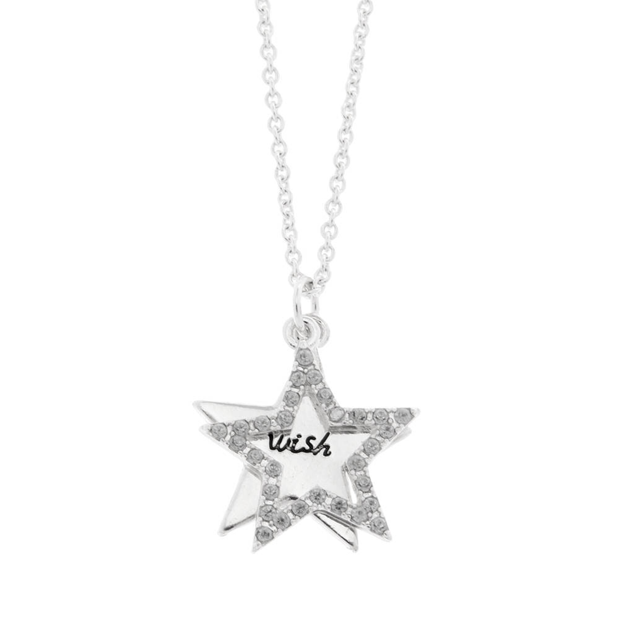 Wish and crystal outline double star pendant necklace claires us wish and crystal outline double star pendant necklace aloadofball Gallery